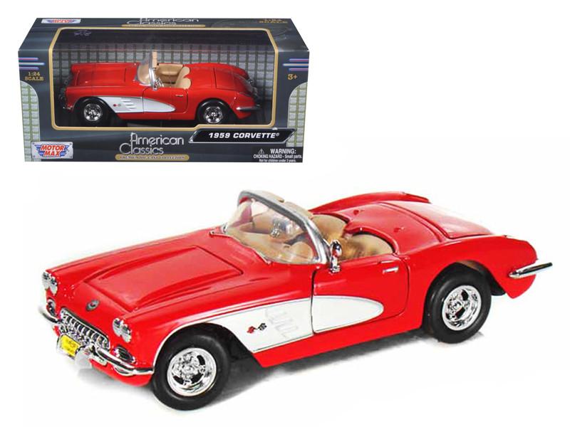 1959 Chevrolet Corvette Red 1/24 Diecast Model Car Motormax 73216