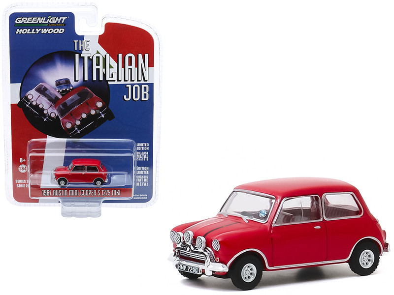 1967 Austin Mini Cooper S 1275 MkI Red The Italian Job 1969 Movie Hollywood Series Release 28 1/64 Diecast Model Car Greenlight 44880 B