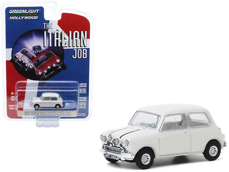 1967 Austin Mini Cooper S 1275 MkI White The Italian Job 1969 Movie Hollywood Series Release 28 1/64 Diecast Model Car Greenlight 44880 C