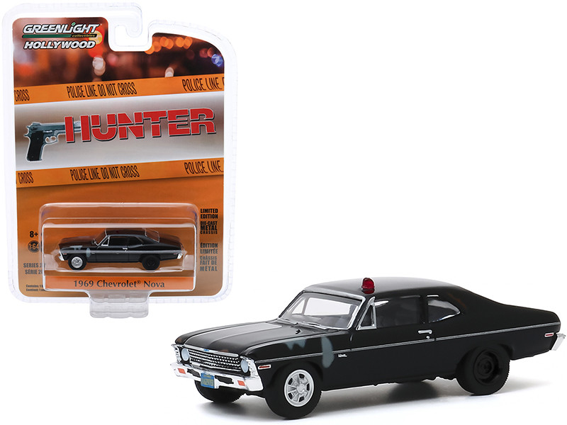 1969 Chevrolet Nova Police Black Unrestored Hunter 1984 1991 TV Series Hollywood Series Release 28 1/64 Diecast Model Car Greenlight 44880 D