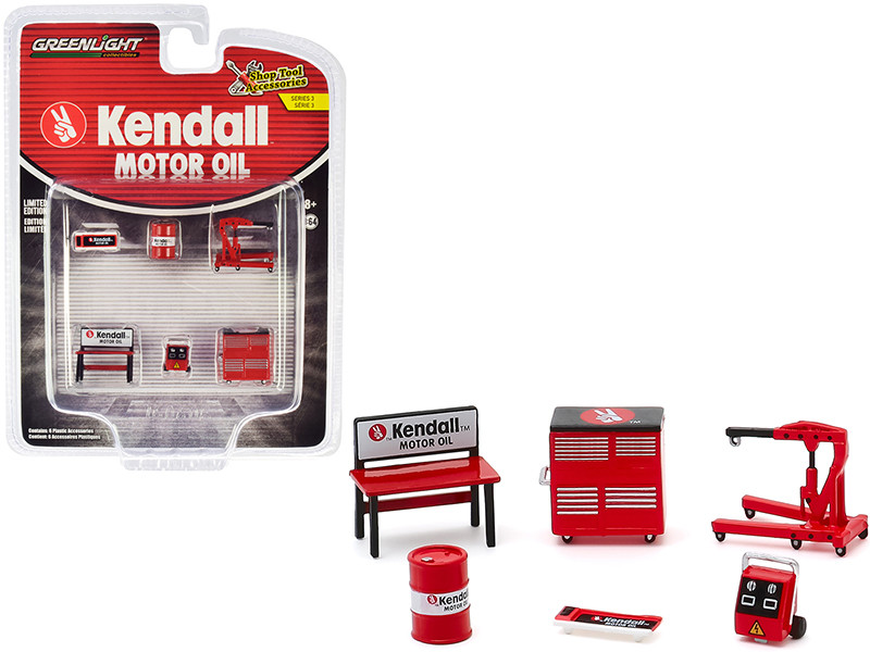 Kendall Motor Oil 6 piece Shop Tools Set Shop Tool Accessories Series 3 1/64 Greenlight 16060 B