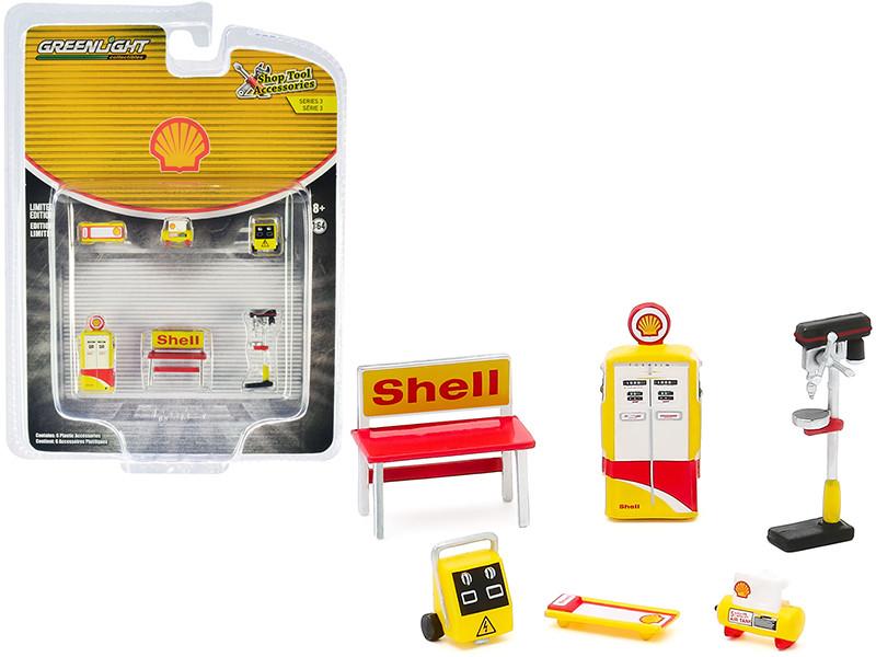 Shell Oil 6 piece Shop Tools Set Shop Tool Accessories Series 3 1/64 Greenlight 16060 C