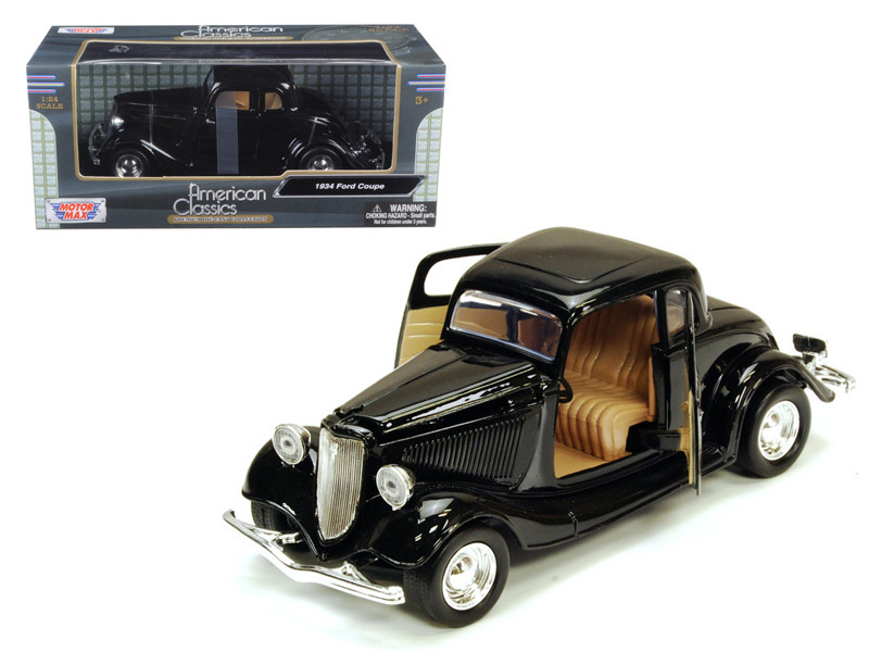 1934 Ford Coupe Black 1/24 Diecast Model Car Motormax 73217
