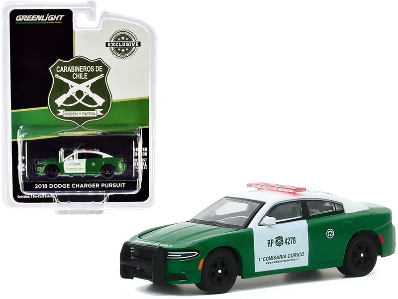 2018 Dodge Charger Pursuit Police Carabineros de Chile Green White Hobby Exclusive 1/64 Diecast Model Car Greenlight 30162