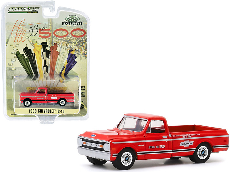 1969 Chevrolet C-10 Fire Pickup Truck Red 53rd Annual Indianapolis 500 Mile Race Official Fire Truck Hobby Exclusive 1/64 Diecast Model Car Greenlight 30164