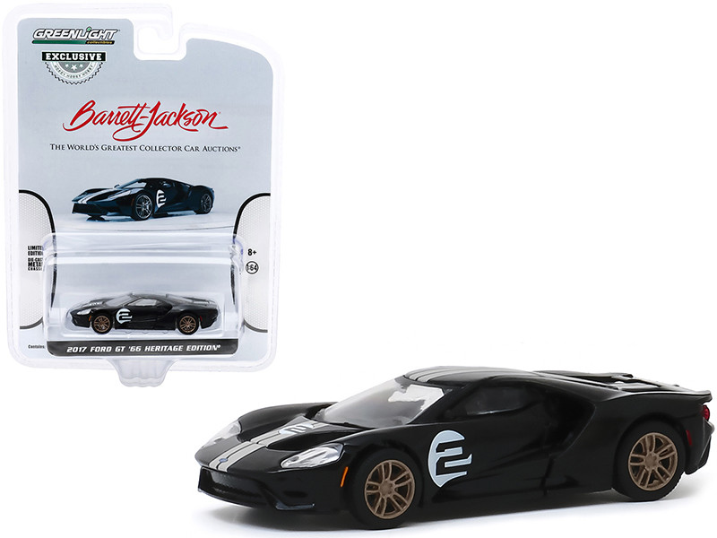 2017 Ford GT '66 Heritage Edition #2 Black Silver Stripes First Legally Resold 2017 Ford GT Las Vegas 2019 Lot #747 Barrett-Jackson Hobby Exclusive 1/64 Diecast Model Car Greenlight 30168