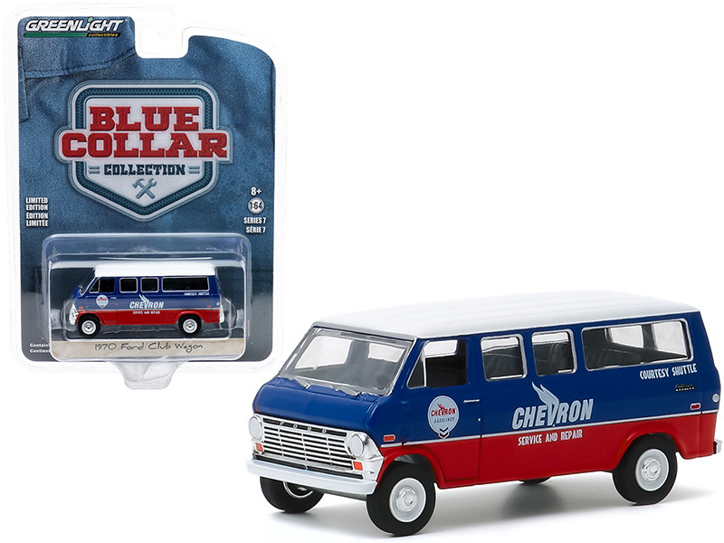 1970 Ford Club Wagon Van Chevron Service & Repair Courtesy Shuttle Blue Red White Top Blue Collar Collection Series 7 1/64 Diecast Model Car Greenlight 35160 A