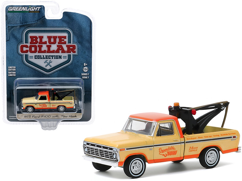 1973 Ford F-100 Tow Truck Tow Hook Dependable Tow Yellow Orange Blue Collar Collection Series 7 1/64 Diecast Model Car Greenlight 35160 B