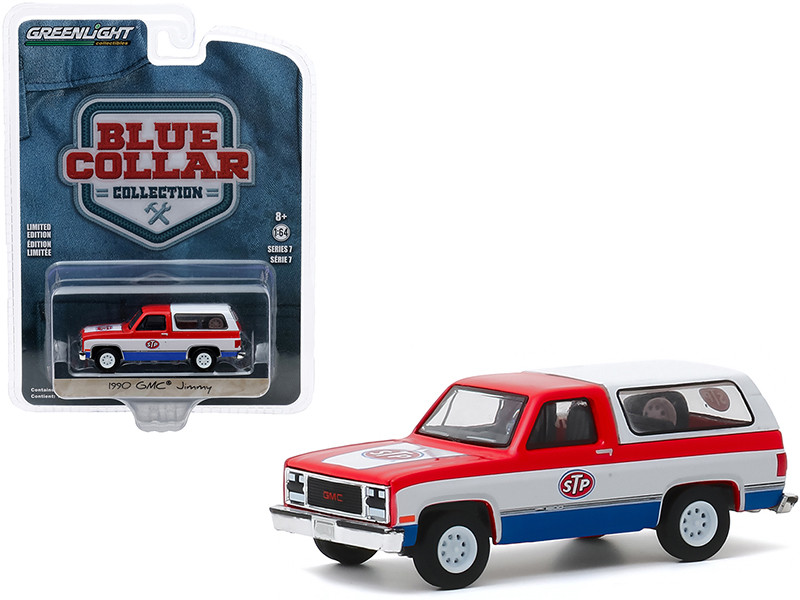 1990 GMC Jimmy STP Red White Blue Bottom Blue Collar Collection Series 7 1/64 Diecast Model Car Greenlight 35160 D