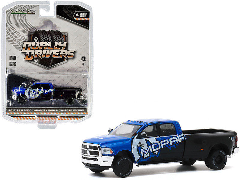2017 RAM 3500 Laramie Dually Pickup Truck MOPAR Off-Road Edition Black Blue Dually Drivers Series 4 1/64 Diecast Model Car Greenlight 46040 C
