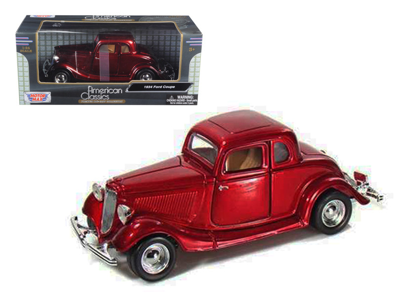1934 Ford Coupe Red 1/24 Diecast Model Car Motormax 73217