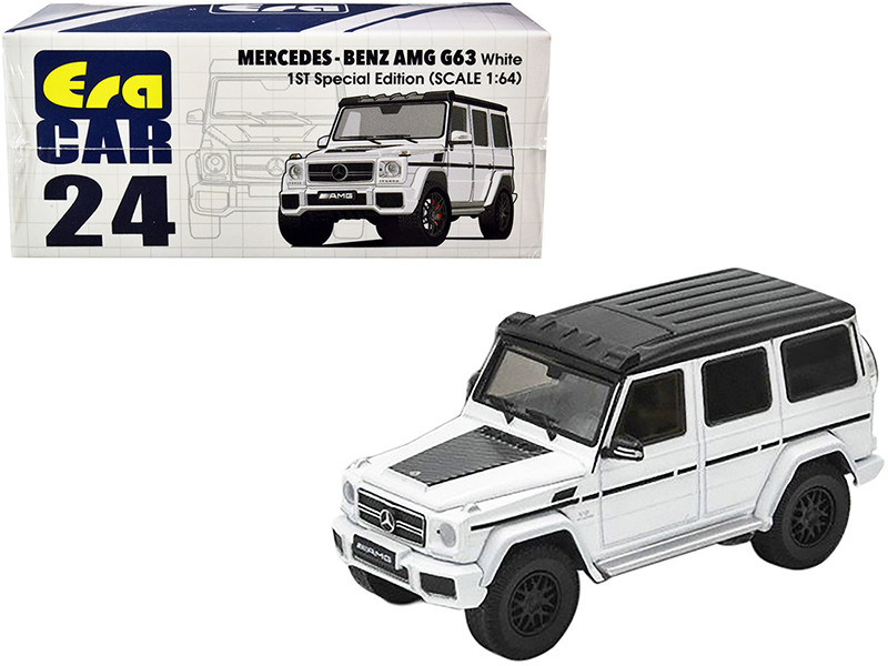 Mercedes Benz AMG G63 White Black Top 1st Special Edition 1/64 Diecast Model Car Era Car MB204X4RF24