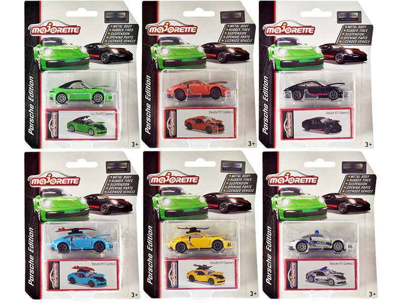Deluxe 2020 Porsche 911 Carrera S Set of 6 pieces 1/64 Diecast Model Cars Majorette 3153