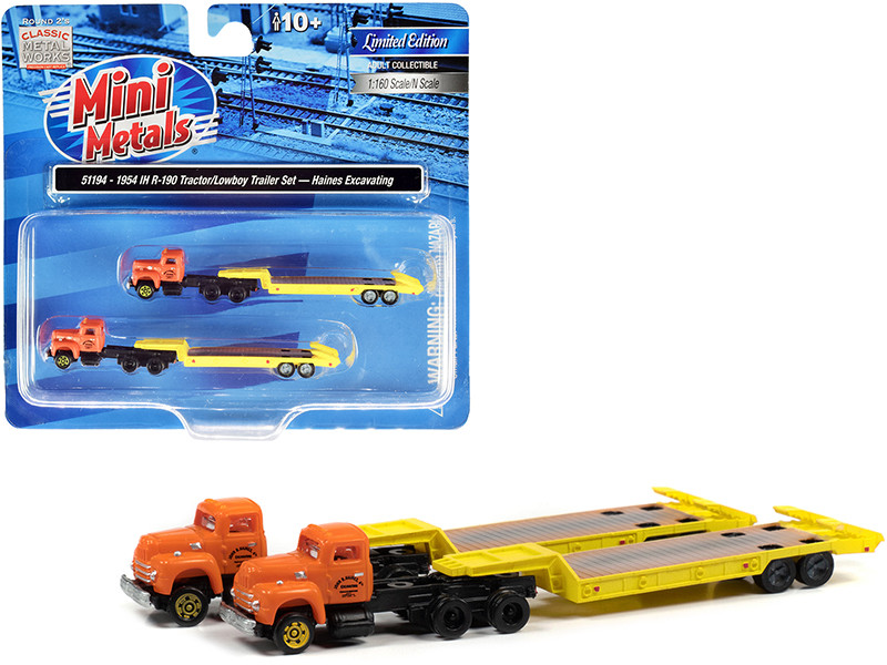 1954 IH R-190 Truck Tractor Lowboy Trailer Haines Excavating Orange Yellow Set of 2 pieces 1/160 N Scale Models Classic Metal Works 51194