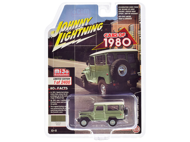 1980 Toyota Land Cruiser Green White Top Limited Edition 2400 pieces Worldwide 1/64 Diecast Model Car Johnny Lightning JLCP7328