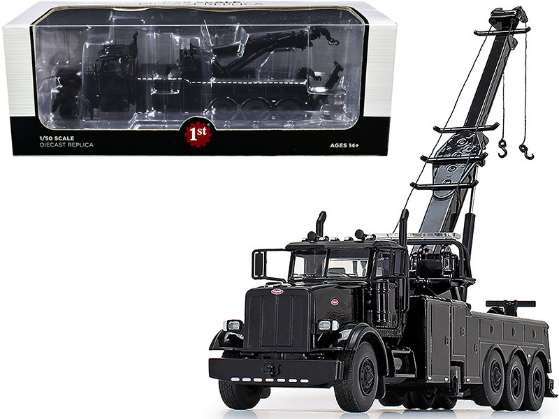 Peterbilt 367 Century 1060S Wrecker Tow Truck Black 1/50 Diecast Model First Gear 50-3439