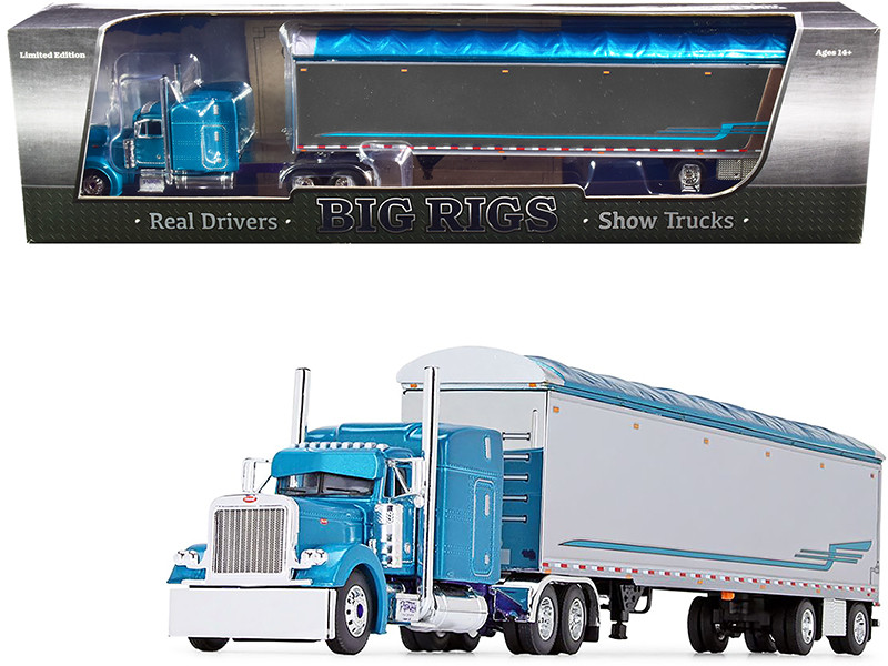 "Peterbilt 379 63"" Mid-Roof Sleeper Cab 53' Walking Floor Trailer Pyskaty Bros. Trucking #34 Light Blue Metallic Chrome Ice Road Truckers 2007 TV Series 2nd in a Big Rigs Series 1/64 Diecast Model DCP First Gear 69-0800"