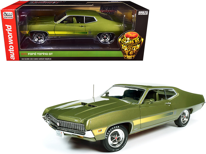1970 Ford Torino GT Hardtop Medium Ivy Green Metallic Green Interior Class of 1970 1/18 Diecast Model Car Autoworld AMM1211