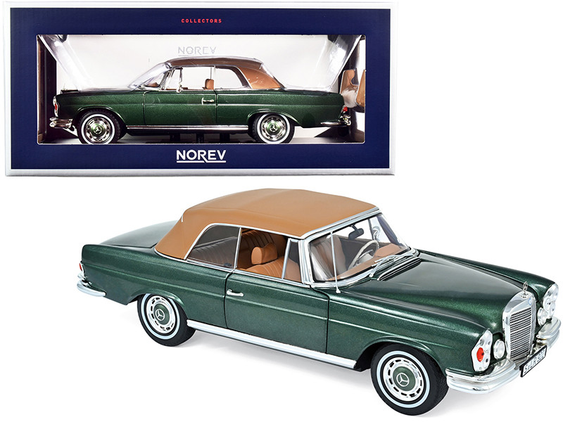1969 Mercedes Benz 280SE Convertible Green Metallic Brown Top 1/18 Diecast Model Car Norev 183434