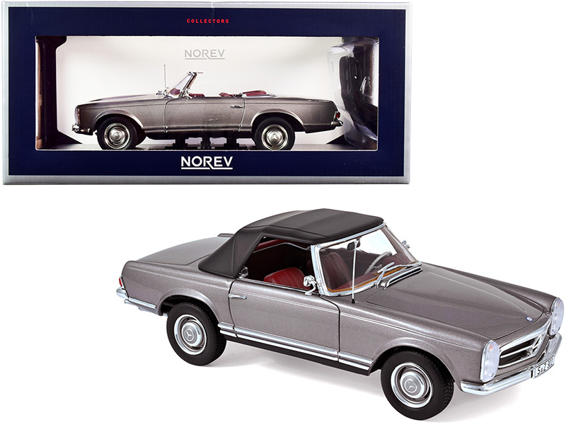 1963 Mercedes Benz 230SL Convertible Anthracite Gray Metallic Red Interior 1/18 Diecast Model Car Norev 183498