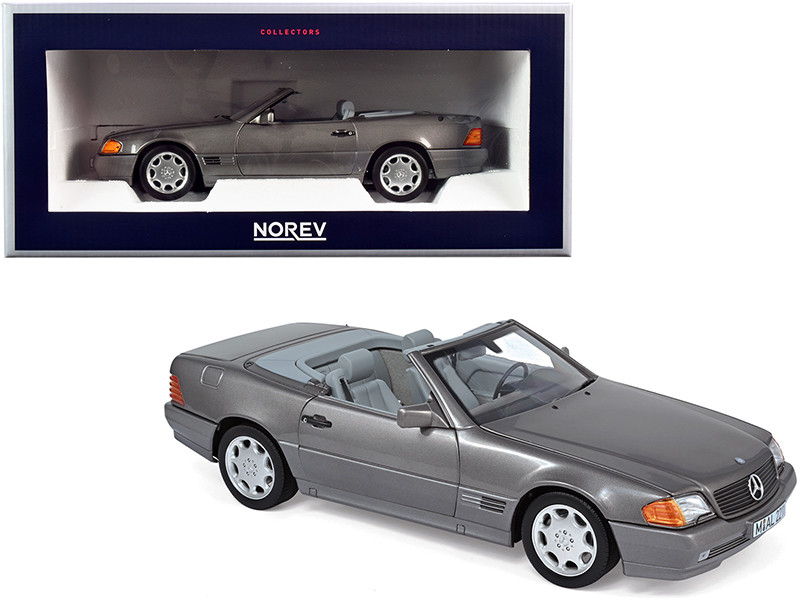 1989 Mercedes Benz 500SL Convertible Gray Metallic 1/18 Diecast Model Car Norev 183715