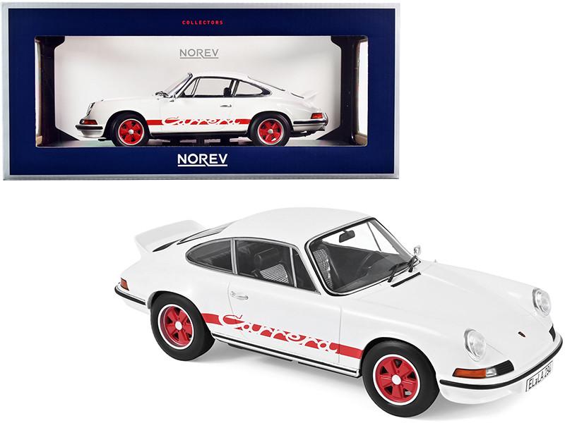 1973 Porsche Carrera 911 RS Touring White Red Stripes 1/18 Diecast Model Car Norev 187639