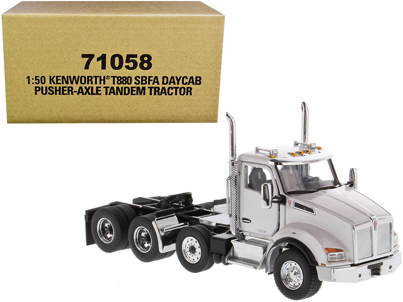Kenworth T880 SBFA Day Cab Pusher-Axle Tandem Truck Tractor White Metallic 1/50 Diecast Model Diecast Masters 71058