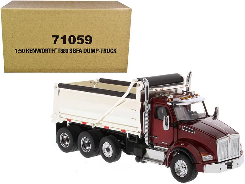 Kenworth T880 SBFA Dump Truck Radiant Red Chrome 1/50 Diecast Model Diecast Masters 71059