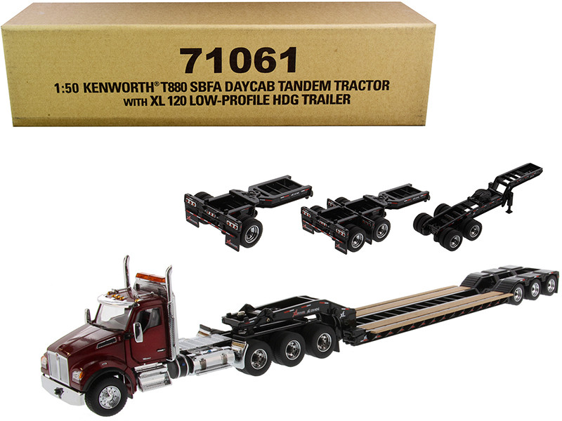 Kenworth T880 SBFA Day Cab Tandem Tractor XL 120 Low-Profile HDG Trailer 2 Boosters Jeep Radiant Red Black Transport Series 1/50 Diecast Model Diecast Masters 71061
