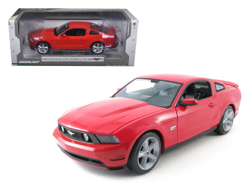 2010 Ford Mustang GT Coupe Torch Red With Charcoal Black Interior With Cashmere White Stripes 1/18 Diecast Car Model Greenlight 12813