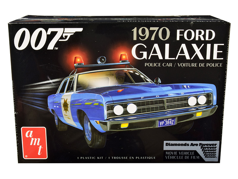 Skill 2 Model Kit 1970 Ford Galaxie Police Car Las Vegas Metropolitan Police Dept Diamonds Are Forever 1971 Movie 7th in the James Bond 007 Series 1/25 Scale Model AMT AMT1172 M
