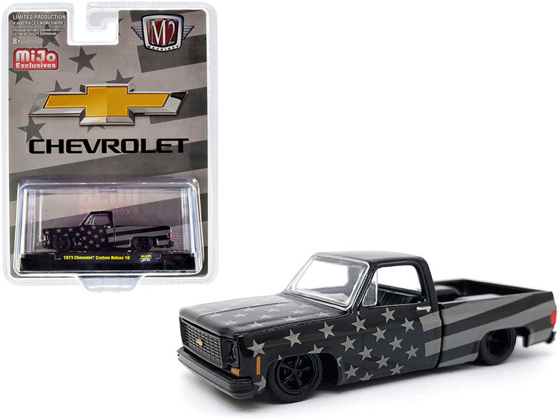 1973 Chevrolet Custom Deluxe 10 Square Body Pickup Truck Black Gray Limited Edition 4400 pieces Worldwide 1/64 Diecast Model Car M2 Machines 31500-MJS27