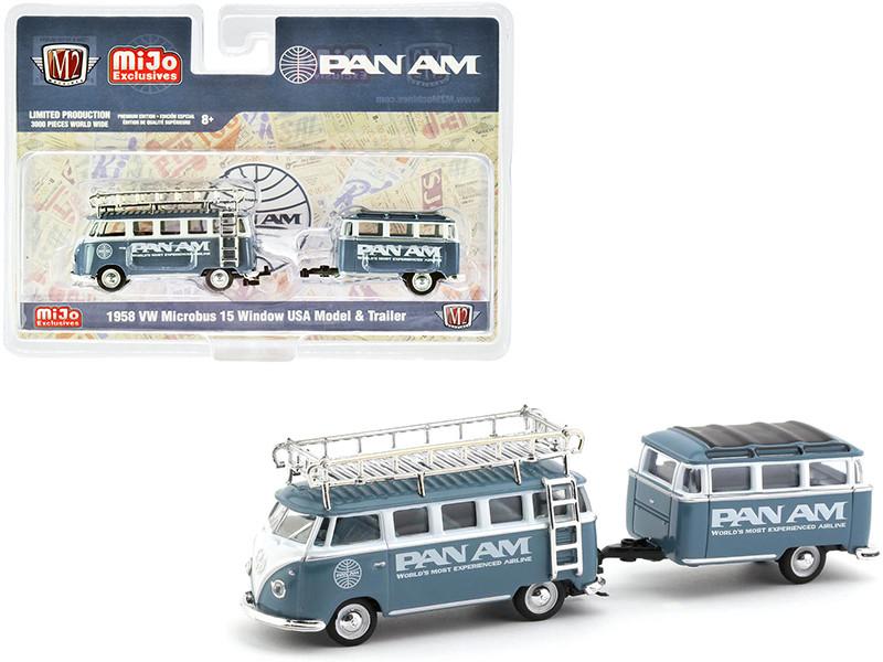1958 Volkswagen Microbus 15 Window USA Model Travel Trailer PAN AM Limited Edition 3000 pieces Worldwide 1/64 Diecast Model Car M2 Machines 38100-MJS04