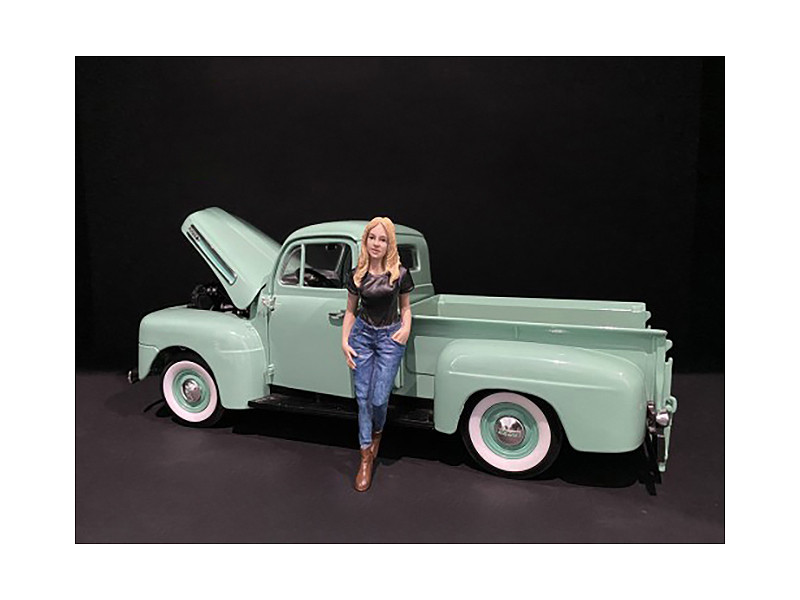 Car Girl in Tee Rachel Figurine for 1/24 Scale Models American Diorama 38336