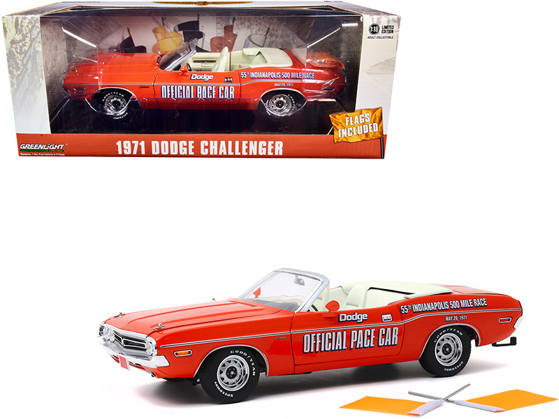 1971 Dodge Challenger Convertible Official Pace Car Orange Two Orange Flags 55th Indianapolis 500 Mile Race 1/18 Diecast Model Car Greenlight 13569