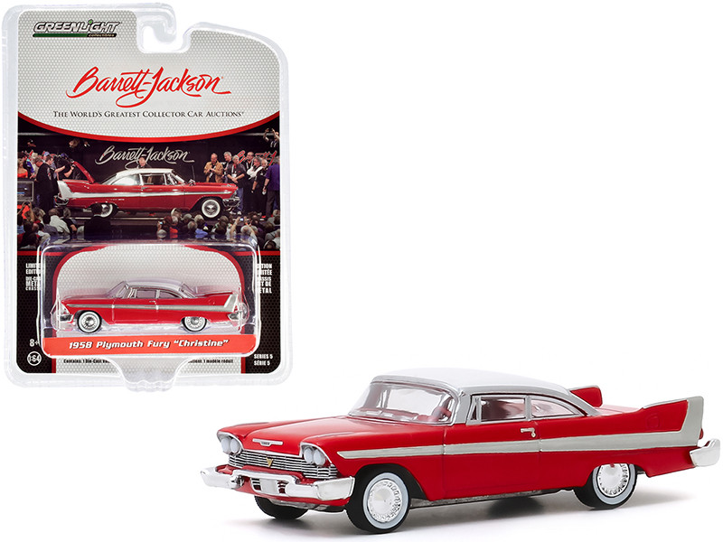 1958 Plymouth Fury Christine Red White Top Lot #2006 Barrett Jackson Scottsdale Edition Series 5 1/64 Diecast Model Car Greenlight 37200 B