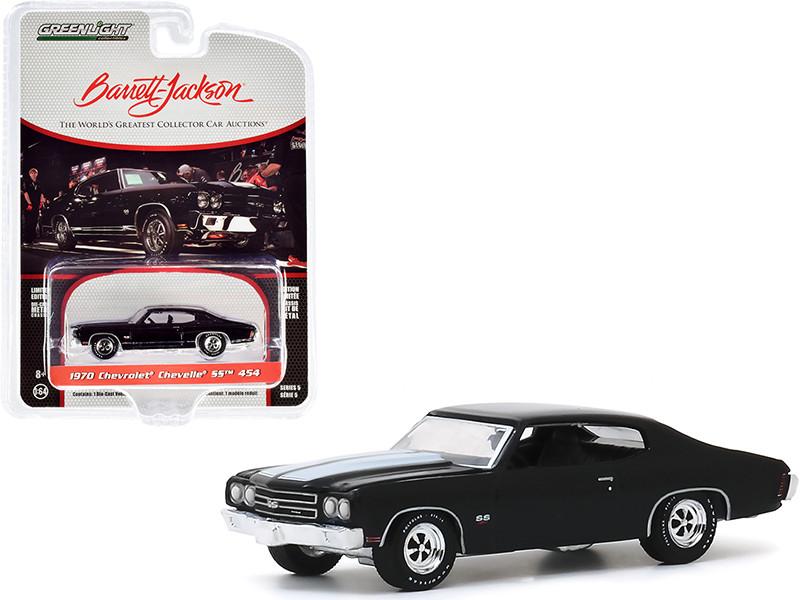 1970 Chevrolet Chevelle SS 454 Black White Stripes Lot #1075 Barrett Jackson Scottsdale Edition Series 5 1/64 Diecast Model Car Greenlight 37200 D