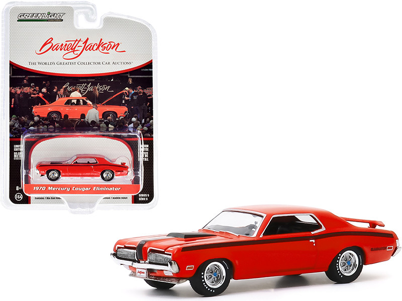 1970 Mercury Cougar Eliminator Orange Black Stripes Lot #1082 Barrett Jackson Scottsdale Edition Series 5 1/64 Diecast Model Car Greenlight 37200 F