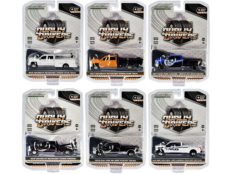 Dually Drivers Set of 6 Trucks Series 4 1/64 Diecast Model Cars Greenlight 46040