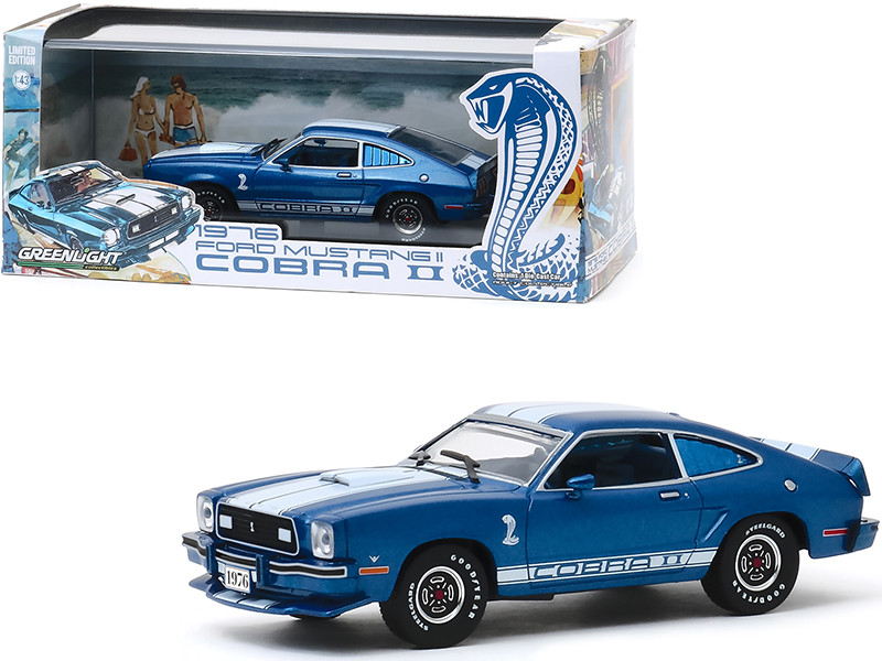 1976 Ford Mustang II Cobra II Blue Metallic White Stripes 1/43 Diecast Model Car Greenlight 86336