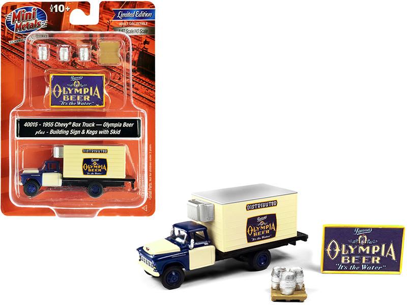 1955 Chevrolet Box Truck Olympia Beer Dark Blue Yellow Building Sign 3 Beer Kegs Skid 1/87 HO Scale Model Classic Metal Works 40015
