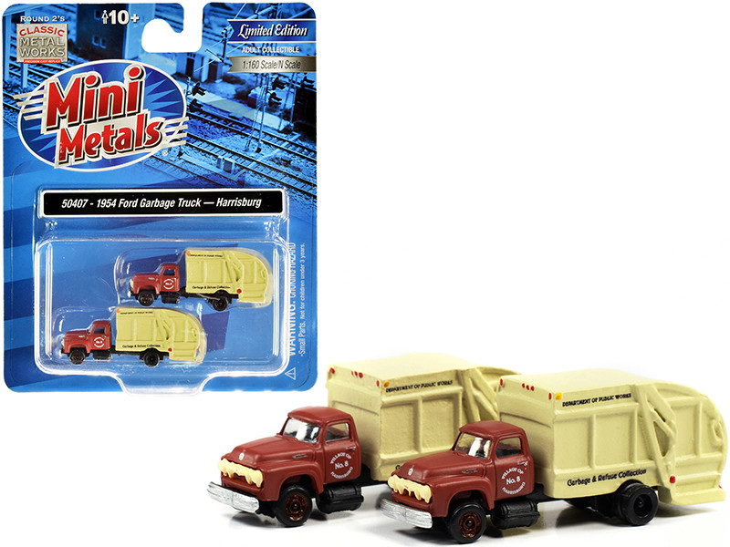 1957 Chevrolet Garbage Truck Harrisburg Department of Public Works Maroon Yellow Set of 2 pieces 1/160 N Scale Models Classic Metal Works 50407