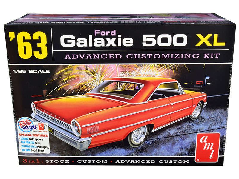 Skill 2 Model Kit 1963 Ford Galaxie 500 XL 3-in-1 Kit 1/25 Scale Model AMT AMT1186