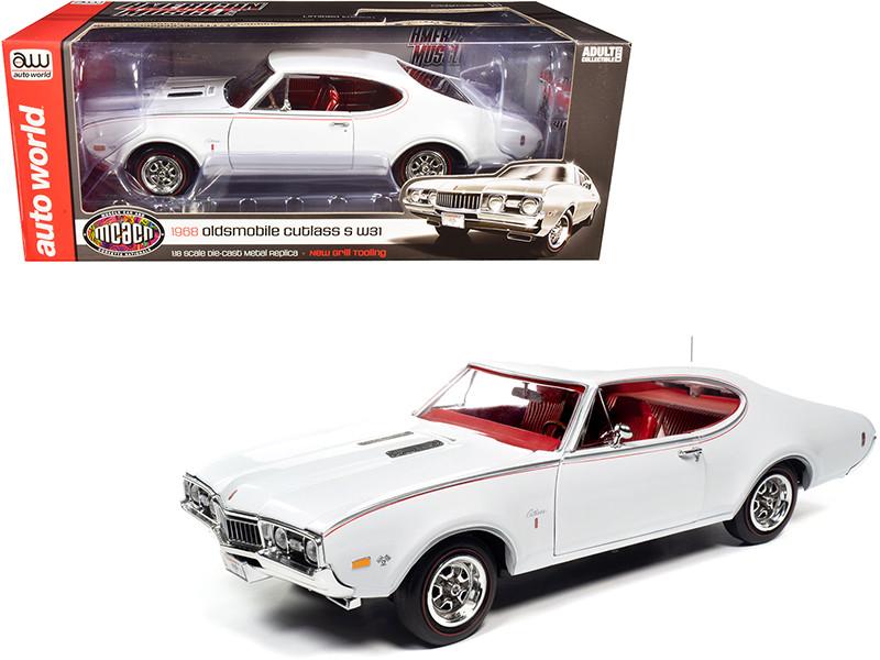 1968 Oldsmobile Cutlass S W31 White Red Interior Muscle Car & Corvette Nationals MCACN 1/18 Diecast Model Car Autoworld AMM1208
