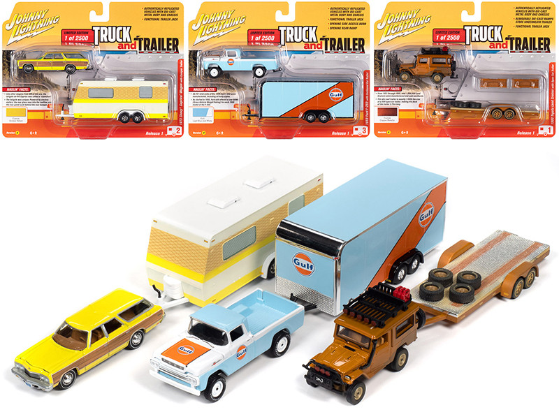 Truck and Trailer 2020 Series 1 Set A of 3 Cars Limited Edition 2500 pieces Worldwide 1/64 Diecast Model Cars Johnny Lightning JLBT013 A