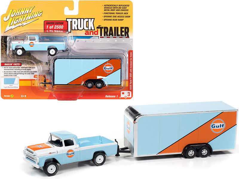 1959 Ford F-250 Pickup Truck Enclosed Car Trailer Gulf Oil Light Blue White Orange Stripes Limited Edition 2500 pieces Worldwide Truck and Trailer Series 1 1/64 Diecast Model Car Johnny Lightning JLBT013 A