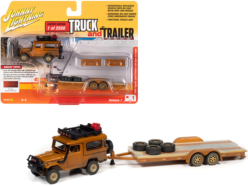 1980 Toyota Land Cruiser Open Car Trailer Custom Copper Metallic Dirty Version Limited Edition 2500 pieces Worldwide Truck and Trailer Series 1 1/64 Diecast Model Car Johnny Lightning JLBT013 A