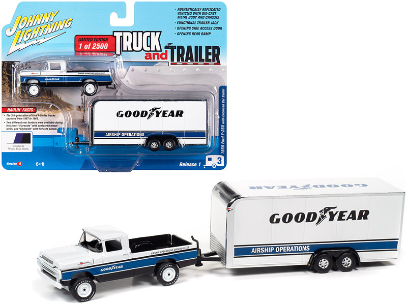 1959 Ford F-250 Pickup Truck Enclosed Car Trailer Goodyear White Blue Black Stripes Limited Edition 2500 pieces Worldwide Truck and Trailer Series 1 1/64 Diecast Model Car Johnny Lightning JLBT013 B