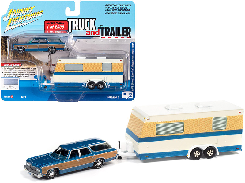 1973 Chevrolet Caprice Wagon Blue Metallic Wood Paneling Camper Trailer Limited Edition 2500 pieces Worldwide Truck and Trailer Series 1 1/64 Diecast Model Car Johnny Lightning JLBT013 B