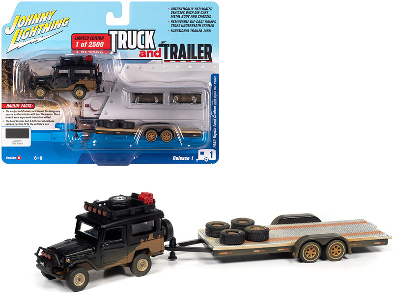 1980 Toyota Land Cruiser Open Car Trailer Custom Flat Black Dirty Version Limited Edition 2500 pieces Worldwide Truck and Trailer Series 1 1/64 Diecast Model Car Johnny Lightning JLBT013 B